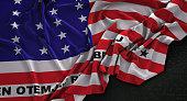 Bikini Atoll Flag Wrinkled On Dark Background 3D Render