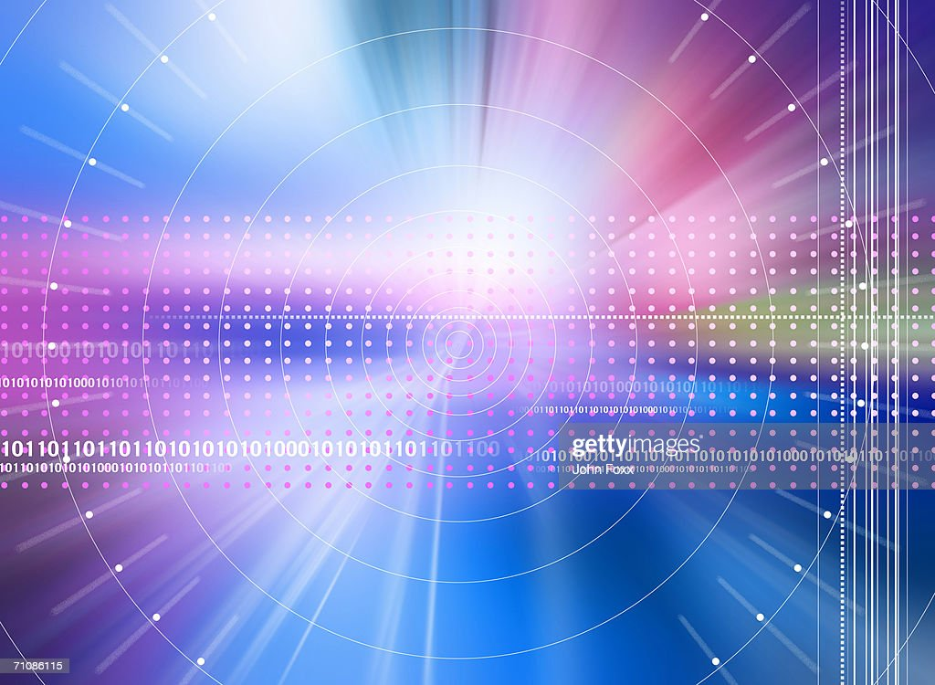 Binary code and spotted lights (Digital Composite) : Stock Illustration