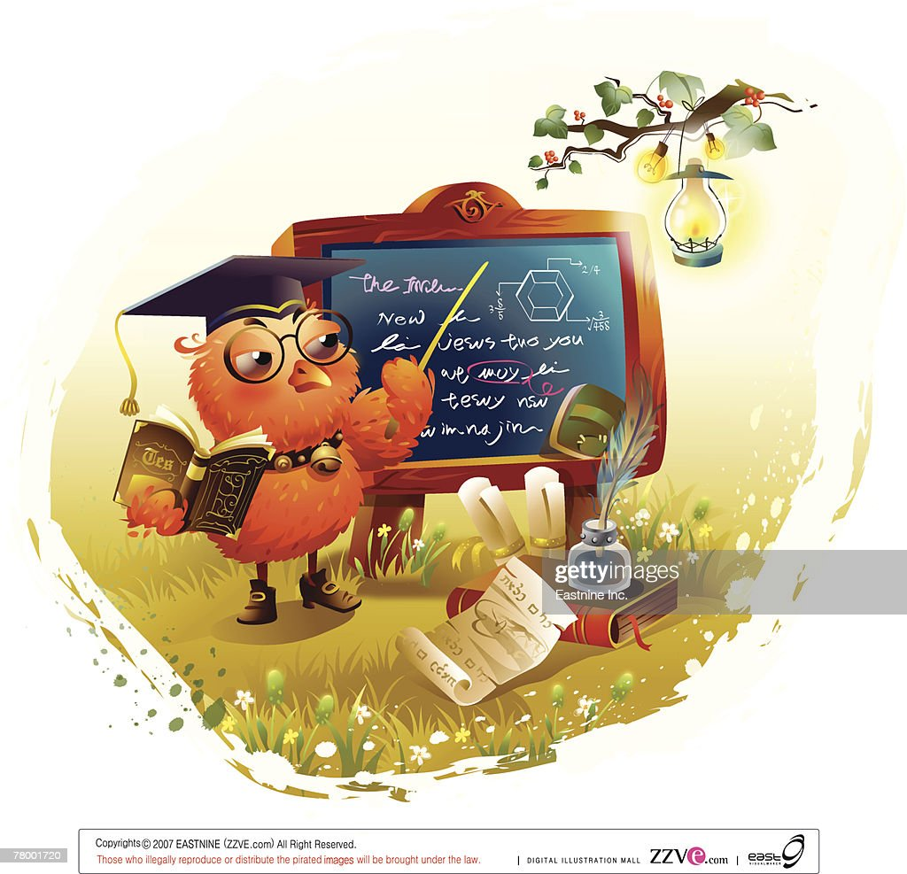 Bird holding a book and teaching at a blackboard : Vector Art