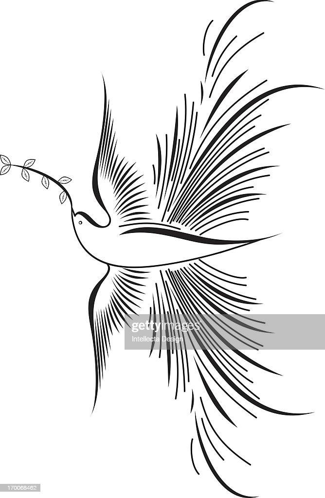 A bird holding leaves in its beak : Stock Illustration