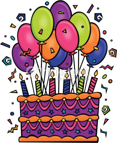 Birthday Cake With Balloons Grouped Elements Color Illustrator Ver 5 Time To Celebrate Happy