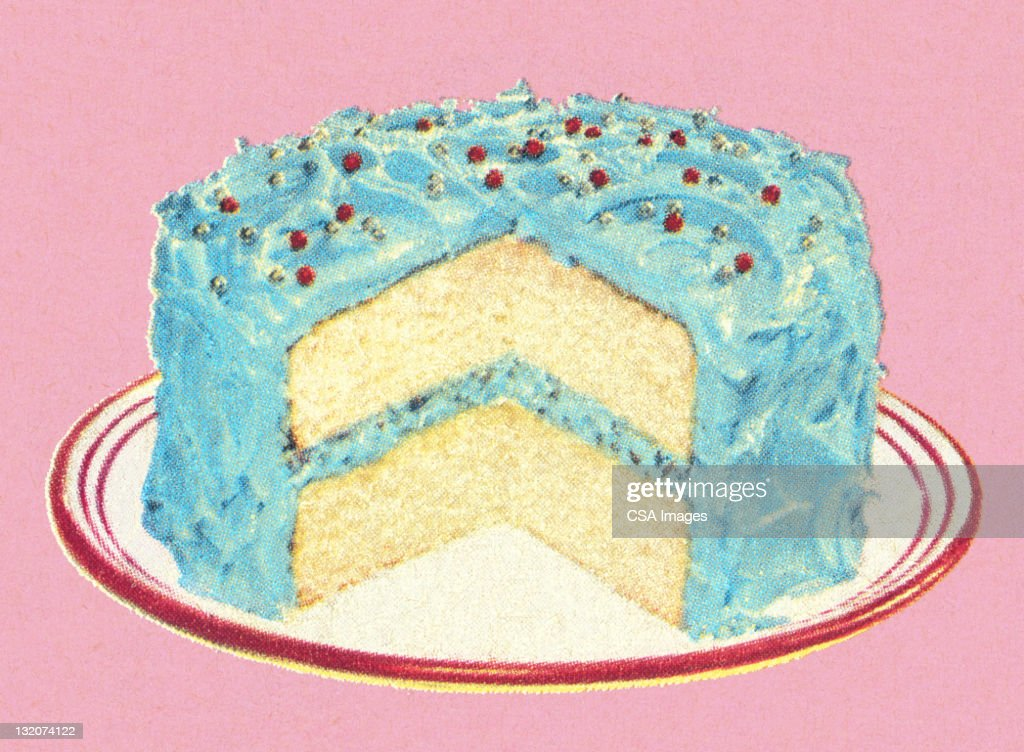 Birthday Cake Pieces Images ~ Birthday cake with piece missing stock illustration getty images