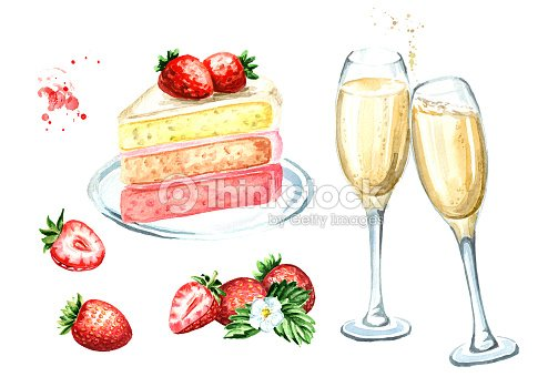 Birthday Or Wedding Set Strawberry Cake With Champagne Glasses Watercolor Hand Drawn Illustration Isolated On White Background