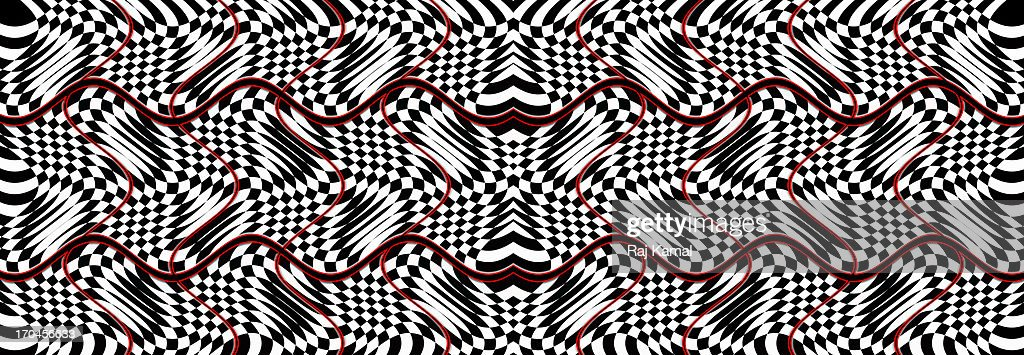 Black and White Chequered Panorama. Abstract . : Stock Illustration