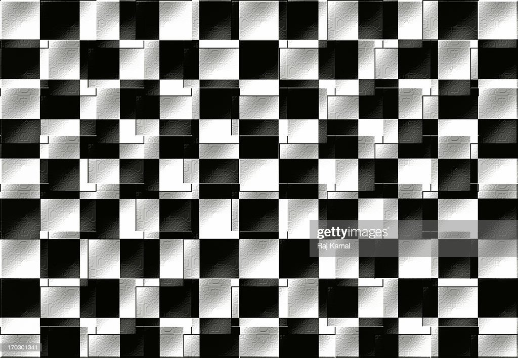 Black and White Chequered Swirl. Abstract Design : Stock Illustration