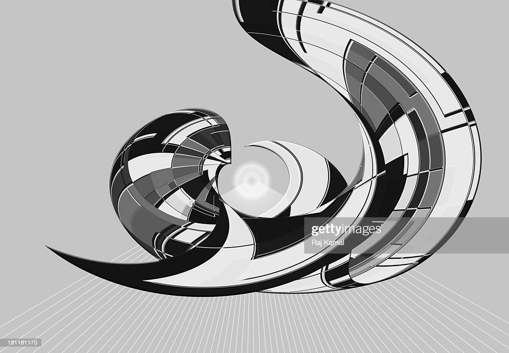 black and white curved creative line design stock