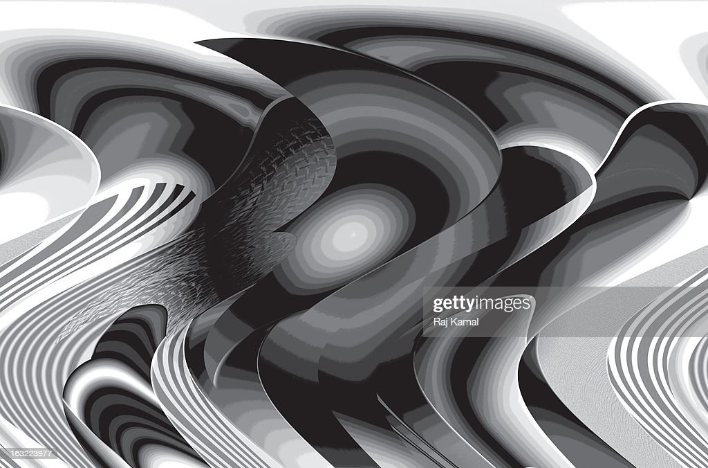 Black and White Curves and Lines Vector : Stock Illustration