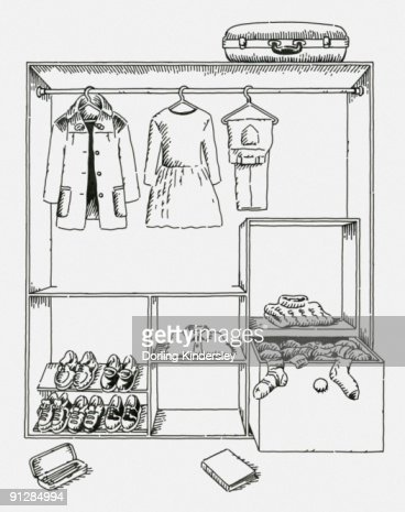 Wardrobe clipart black and white  Black And White Digital Illustration Of Clothing And Shoes In ...