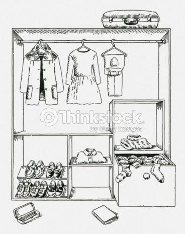 Wardrobe Clipart Black And White Digital Illustration Of Clothing Shoes In
