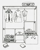 Black and white digital illustration of clothing and shoes in wardrobe and suitcase on top