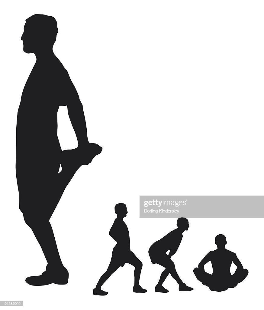 Black and white Digital illustration of men performing stretching exercises : Stock Illustration