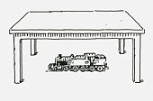 Black and white digital illustration of toy steam train below table
