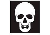 Black and white digital illustration representing human skull