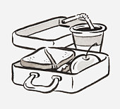 Black and white illustration of a lunch box and soft drink