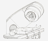 Black and white illustration of a patient undergoing radiation therapy