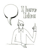 Black and white illustration of a person without a face who found an idea. person at the table with his hand up. bubble, text.
