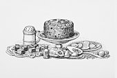 Black and white illustration of fruit and nut cake, slices of cake, and biscuits