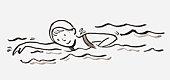 Black and white illustration of girl swimming