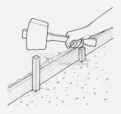 Black And White Illustration Of Hand Holding Mallet Above Wooden