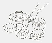 Black and white illustration of hand using wooden spoon to move portions of minced meat from pan into smaller containers for freezing