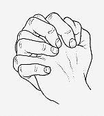 Black and white illustration of hands clasped