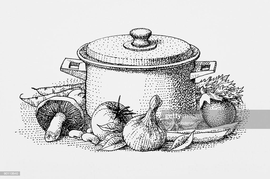 Black and white illustration of ingredients surrounding casserole dish : Stock Illustration