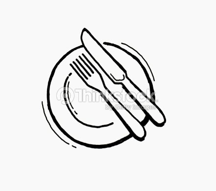 Black and white illustration of knife and fork on plate stock illustration thinkstock - Assiette dessin ...