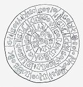 Black and white illustration of Phaistos clay disc, found at Phaistos, Crete, Greece