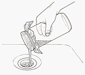 Black and white illustration of rinsing mung beans with water through muslin on top of jar