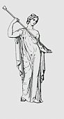 Black and white illustration of Roman virgin goddess Vesta