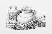 Black and white illustration of stew pot surrounded by beans