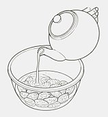 Black and white illustration of water being poured onto dried fruit in a bowl, to soak