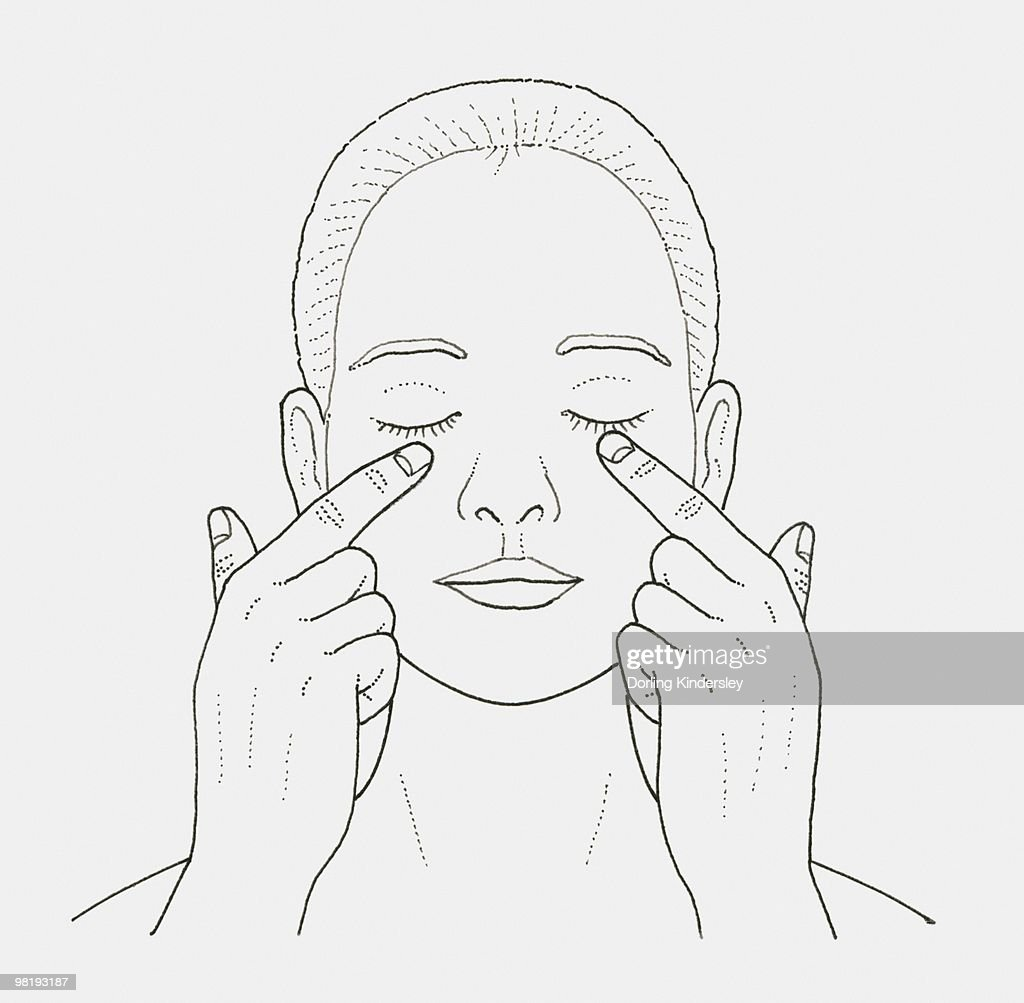 Black and white illustration of woman massaging skin under her eyes with her fingers : Stock Illustration