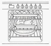 Black and white illustration roast dinner cooking in oven