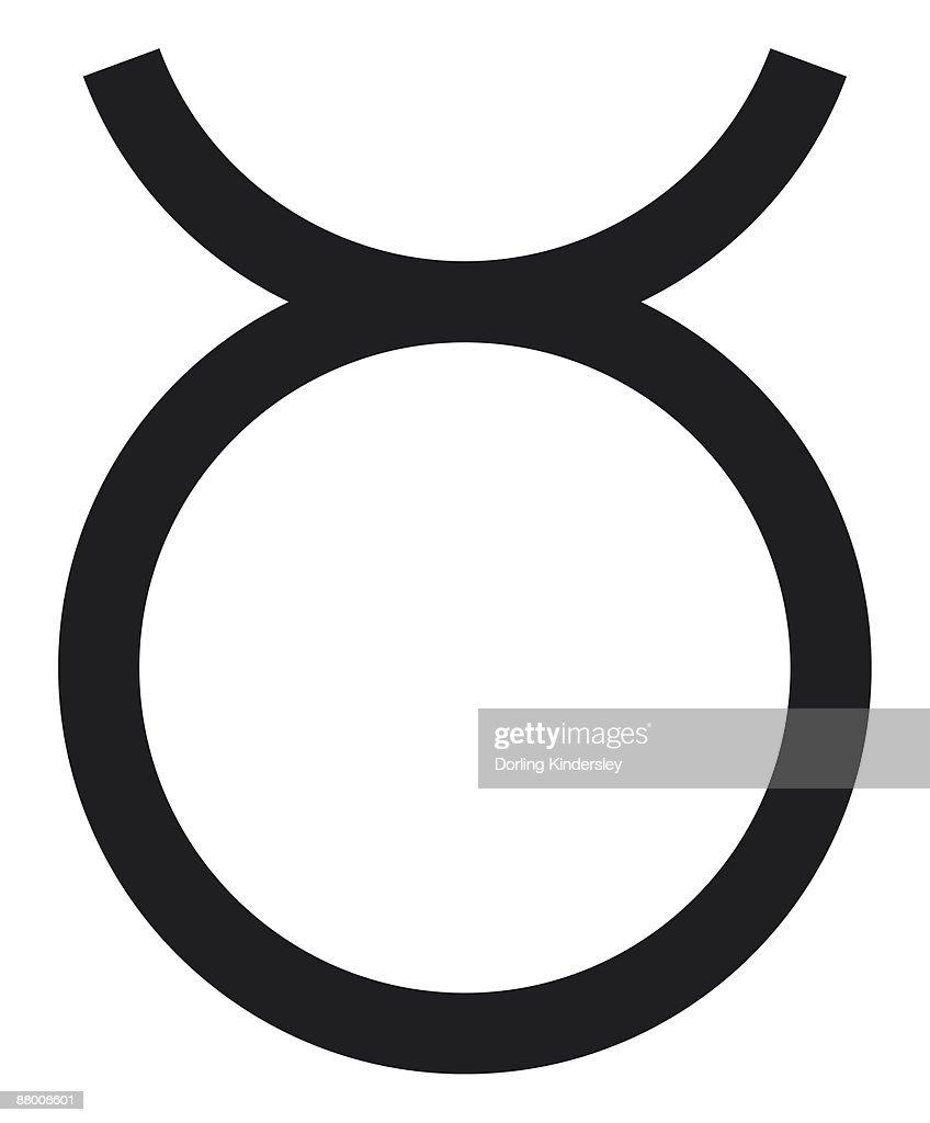 Black and White Illustration Taurus symbol : Stock Illustration