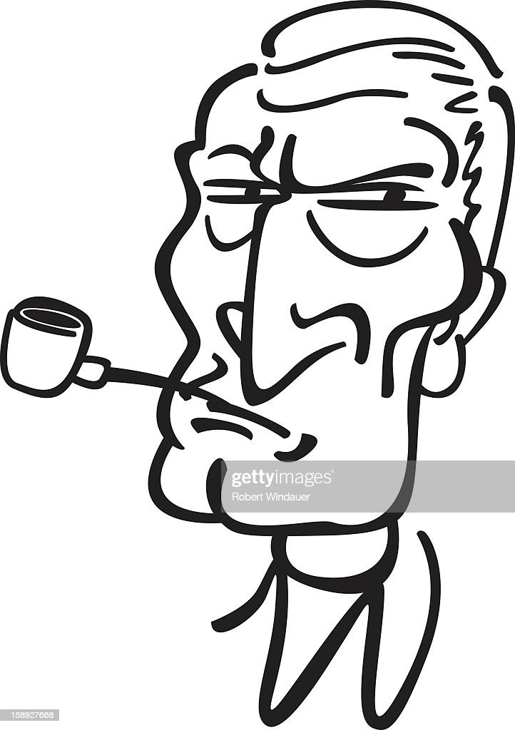 A black and white image of a man smoking a pipe : Stock Illustration