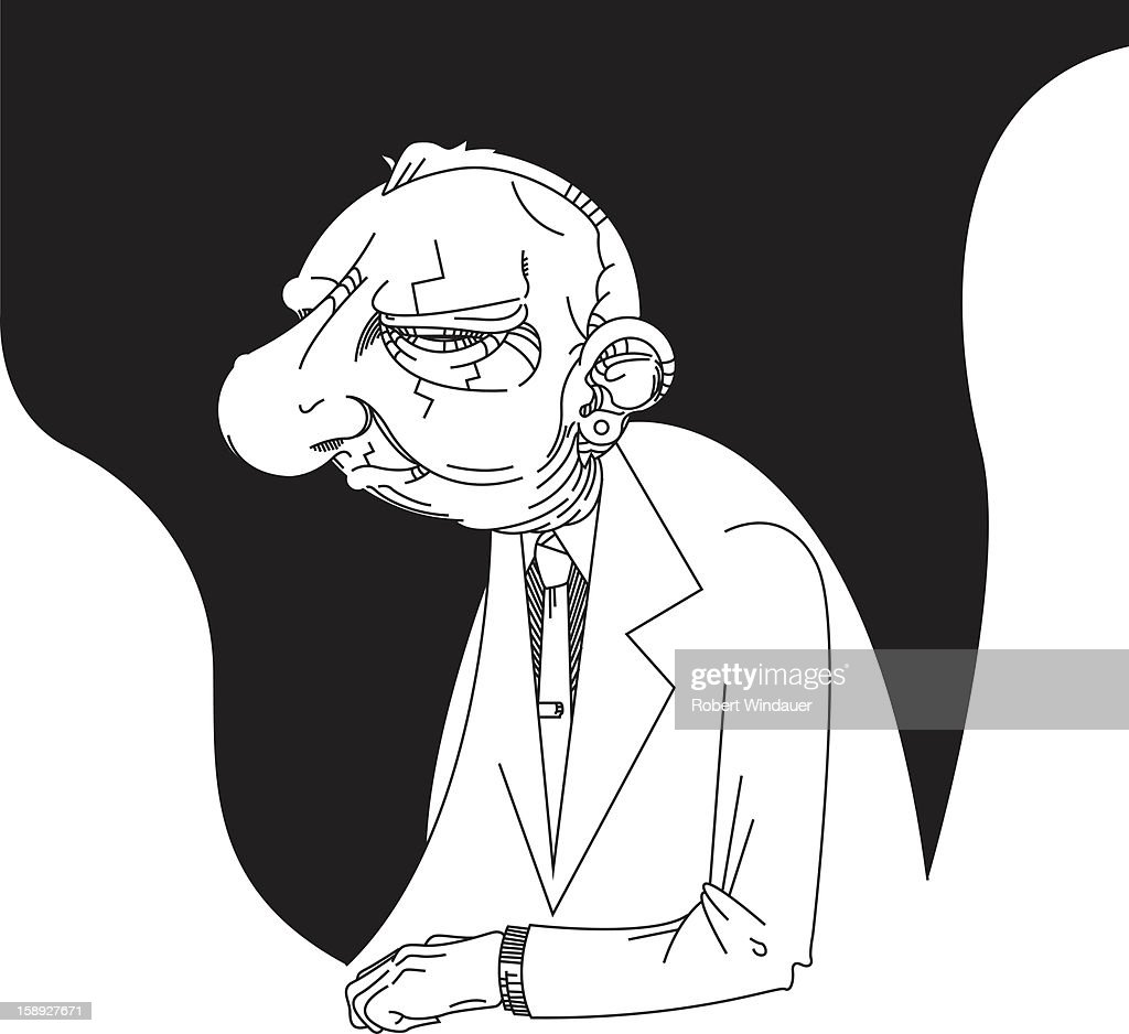 A black and white image of an elderly man : Stock Illustration