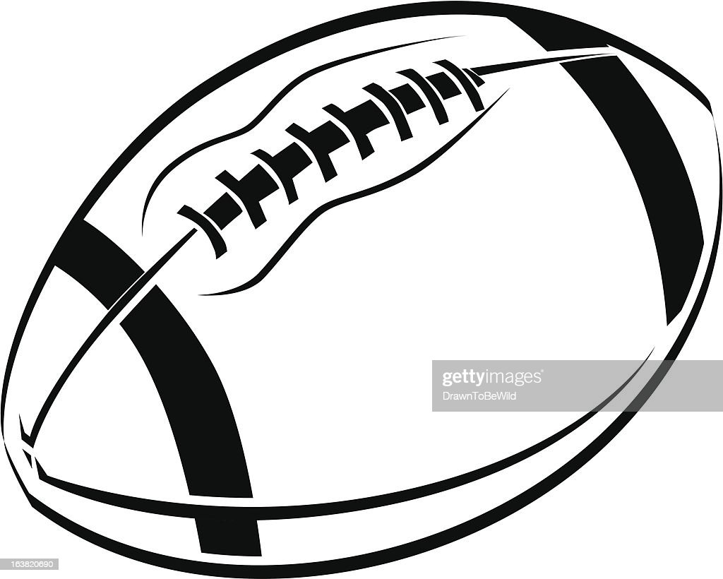 black and white line art drawing of an american football vector art rh thinkstockphotos com au powder puff football vector art vector football clip art