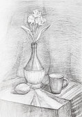 hand painted training black and white still-life with flowers in bottle and mug on table drawn by pencil on white paper