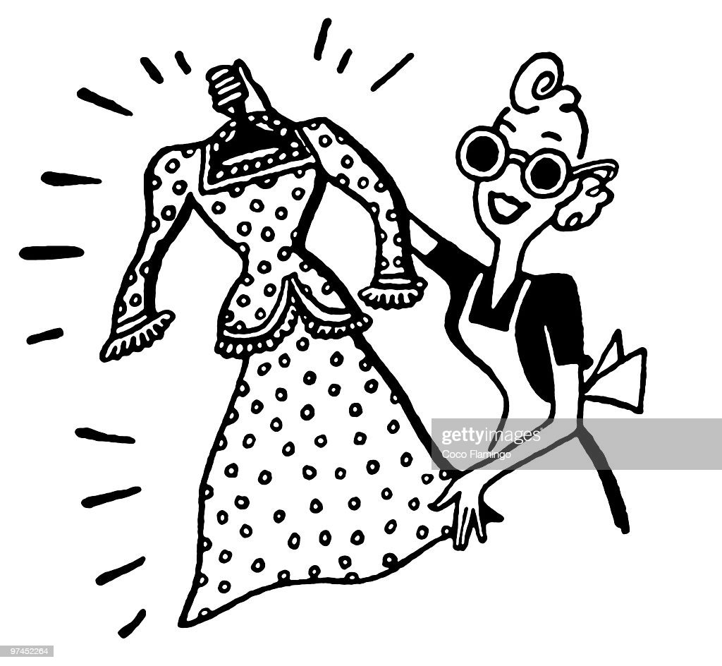A black and white version of a cartoon style portrait of a woman with a new dress : Stock Illustration