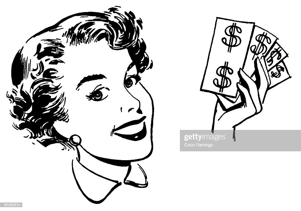 A black and white version of a graphical portrait of a woman with wads of cash : Stock Illustration