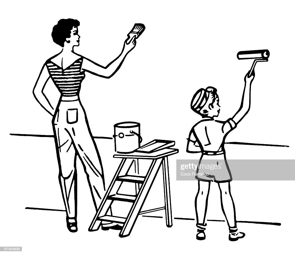 A Black And White Version Of A Mother And Child Painting Walls Together  Stock Illustration | Getty Images