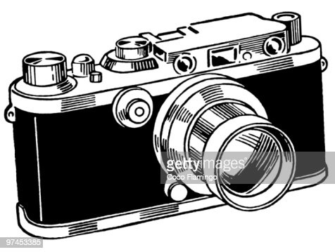 A black and white version of a vintage camera : Stock Illustration