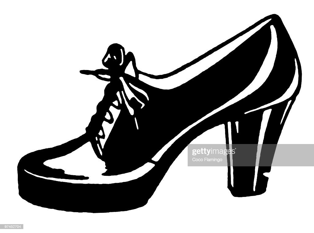 A black and white version of a vintage shoe : Stock Illustration