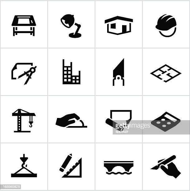L'Architecture et de Design icônes noir