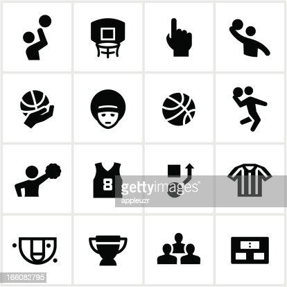 Black Basketball Icons : Vector Art