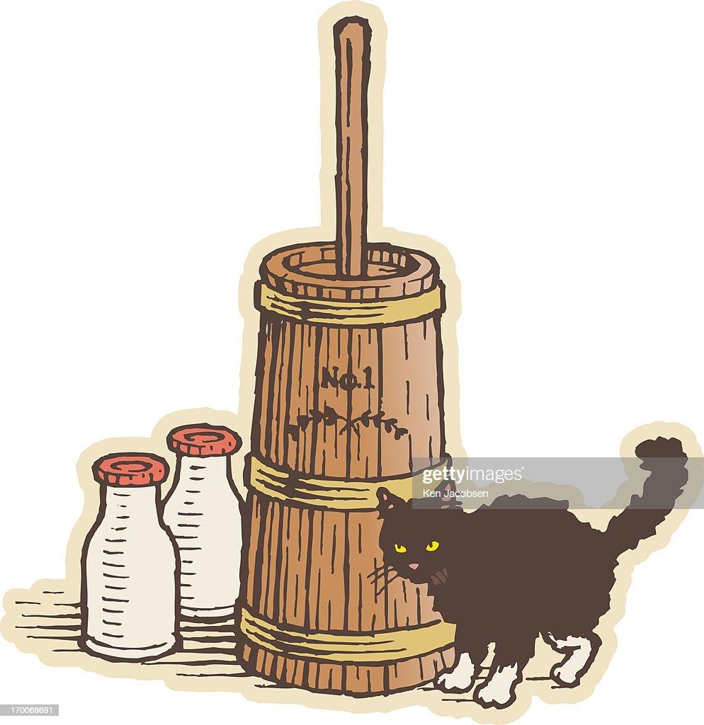 A black cat and milk : Stock Illustration