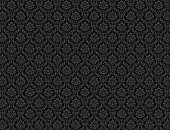 Black damask wallpaper with royal floral patterns
