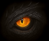 Yellow eye of black dragon. Digital painting.