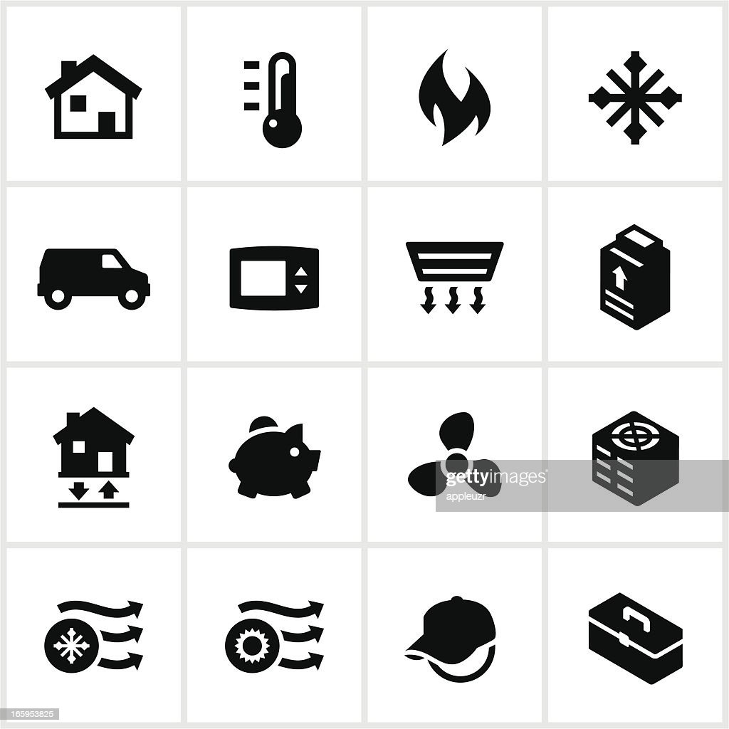 heating cooling icon. black heating and cooling icons : vector art icon d
